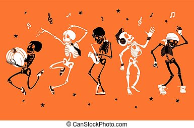 Vector orange dancing and musical skeletons Haloween set collection. Great for spooky fun party themed designs, gifts, packaging. Holiday elements.