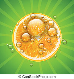 Vector Orange Fruit with Water Drops