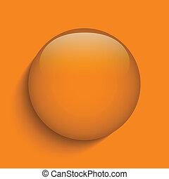 Orange Glass Circle Button on Orange Background