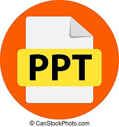 Vector orange icon PPT. File format extensions icon. flat ...
