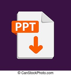 Vector orange icon PPT. File format extensions icon. - ...