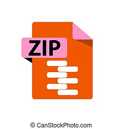 Vector orange icon ZIP. File format extensions icon.