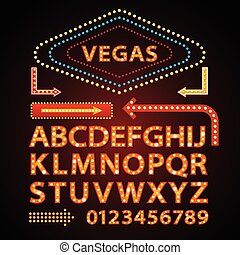 Vector orange neon lamp letters font show vegas light sign theather