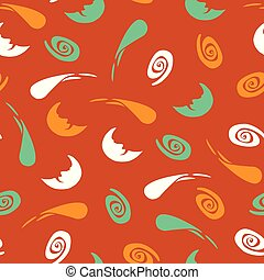 Vector orange repeat pattern with moon, stars and comet silhouettes. Perfect for fabric, scrapbooking and wallpaper projects. Surface pattern design.
