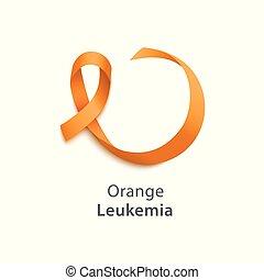 Vector Orange ribbon as symbol of Animal Abuse, leukemia awareness, kidney cancer association, multiple sclerosis