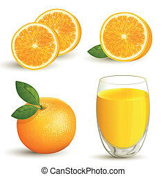 Vector set of fresh ripe oranges with leaves and a glass of orange juice