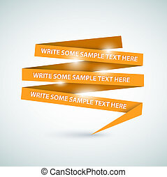 Vector Orange speech bubble made from paper on white paper