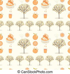 Vector orange tree grove. Hand drawn seamless vector pattern illustration. Organic garden with juicy oranges, citrus fruit and freshly squeezed juice for growing produce farm backdrop.
