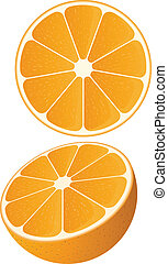 Vector Orange - Vector of a slice of orange and a half...