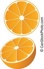 Vector Orange - Vector of a slice of orange and a half...