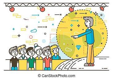 Vector orator spokesman spokesperson speaker pointing gesture businessman rhetor politician speech speaking stage audience business presentation line art style side view white background