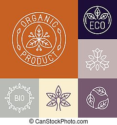 Vector organic product label in outline style - floral logos...
