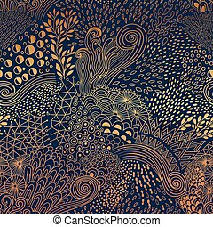 Vector organic seamless abstract background, botanical motif, freehand doodles pattern