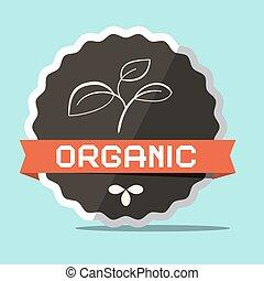 vector, organisch, retro, etiket