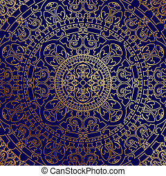 blue background with gold ornament - Vector oriental blue...
