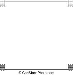 Vector Oriental Frame, Black Border Isolated, Ornament Template, Blank.