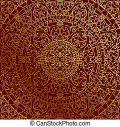 background with gold ornament - Vector oriental red...