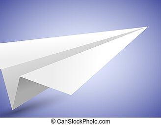Vector origami airplane on blue background. Eps 10