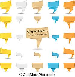 vector, origami, banieren, papier