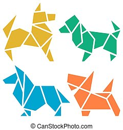 Origami Dogs Icon Set