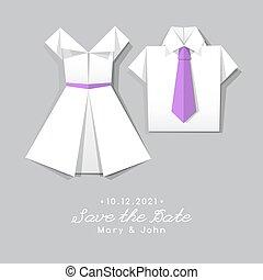 origami dress and shirt, wedding invitation
