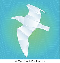 Vector origami gull