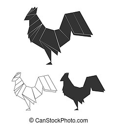 Vector origami rooster set. Line, silhouette and polygonal...