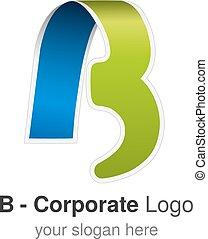 Vector original font alphabet. Letter B, corporate logo design, paper blue - green ribbon icon, origami