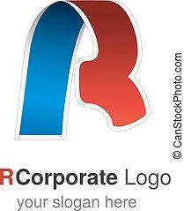 Vector original font alphabet. Letter R, corporate logo design, paper blue - red ribbon icon, origami