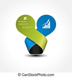 Vector original infographic element. Circles with bent ribbon. Place for your text. Green and blue color.