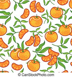 Vector ornage with peeled pieces seamless pattern background on white surface