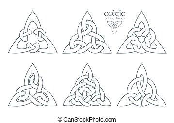 vector, ornament., d, trinidad, parte, nudo, geométrico, ...