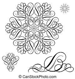 Vector Ornament Pieces Set - Vector swirl ornament set. Easy...
