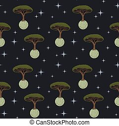 Vector ornament with green trees growing on small moons surrounded by stars against a background of blue space seamless pattern.