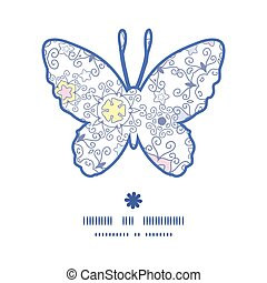 Vector ornamental abstract swirls butterfly silhouette pattern frame