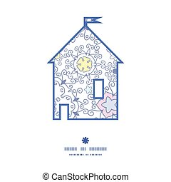 Vector ornamental abstract swirls house silhouette pattern frame