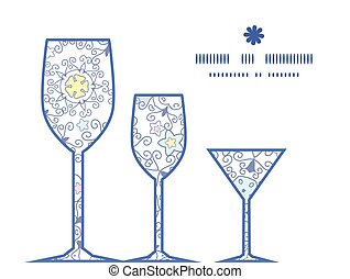 Vector ornamental abstract swirls three wine glasses silhouettes pattern frame
