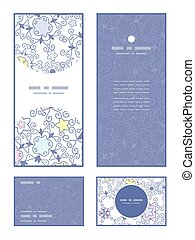 Vector ornamental abstract swirls vertical frame pattern invitation greeting, RSVP and thank you cards set