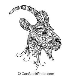 Vector Ornamental Goat