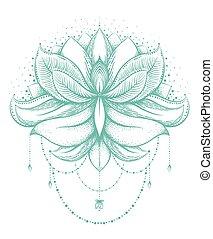 Vector ornamental Lotus, ethnic zentangled henna tattoo,...