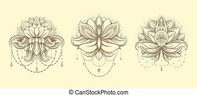 Vector ornamental Lotus set