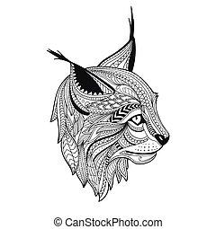 Vector Ornamental Lynx - Vector Illustration of an ...