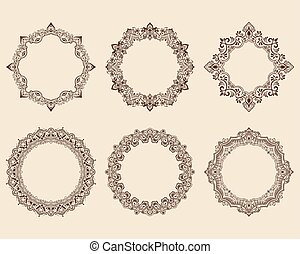 Vector ornamental round lace with damask and arabesque...