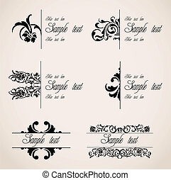 vector, ornaments., set, grens, classieke