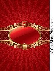 Vector ornate background with golden luxury framed label