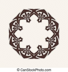 Vector ornate border. Gothic lace tattoo. Celtic weave with...