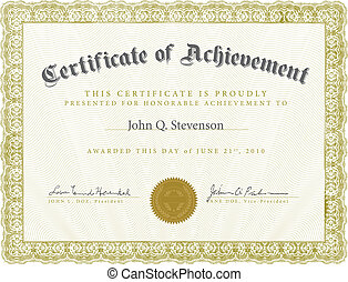 Vector Ornate Certificate Template - Vector certificate with...