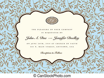 Vector Ornate Frame and Blue Ivy Background