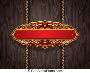 Vector ornate gold vintage signboard hanging on chains against a wooden wall