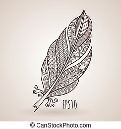Vector ornate intricate feather. Doodle. Zentangle